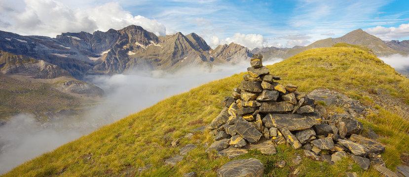 Pyrenees; mountain; outdoor; landscape; Pic de Sarradets; Occidentales; rocks; rocky; evening; fog; France; glacier; glacial; peaks; highland; level; stone; stony; upland; park; composition; composed;