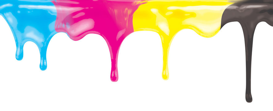 CMYK ink color paint dripping isolated on white with clipping path included