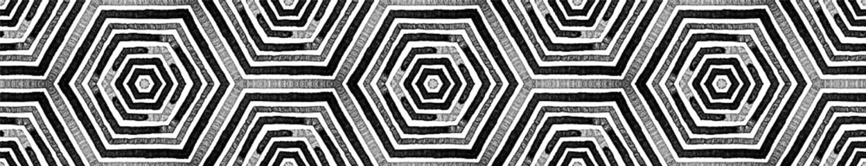 Dark black and white Seamless Border Scroll. Geome