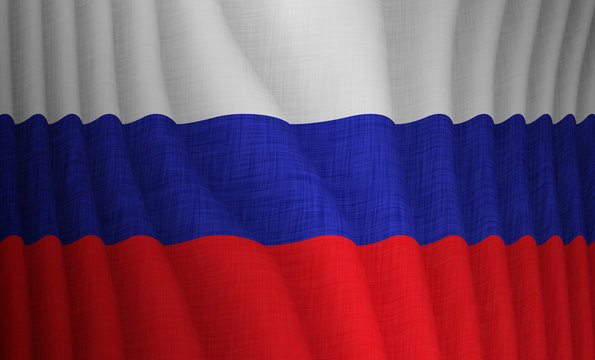 Graphic illustration of a flying Russian flag with a fabric pattern