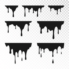 Dripping Paint Set. Liquid Drips. Black ink runs. Vector illustration isolated on transparent background