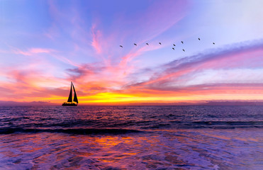 Wall Mural - Ocean Sunset Sailboat