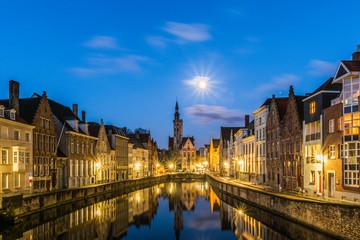 Wall Mural - Spiegelrei canal and Jan Van Eyck Square In Brugge, Belgium