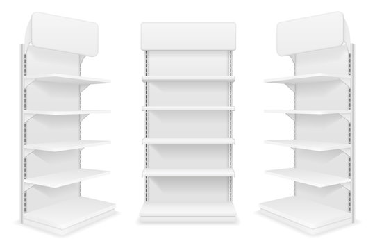 shelving rack for store trading with a sign to advertise goods and products empty template for design stock vector illustration