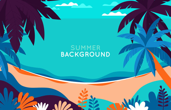 Vector illustration - beach landscape - plants, leaves, palm trees and ocean - background with copy space for text for banner