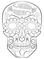 illustration, book, cover, magazine, print, vector, design, object, isolated, black, white, image, skull, symbol, idol, death, worship, culture, religion, traditional, folklore, Latin American, Mexica