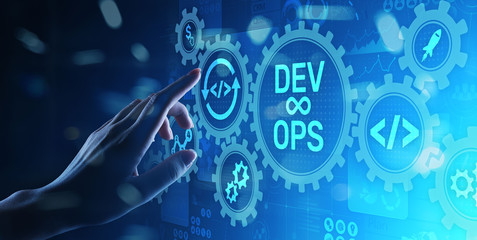 DevOps Agile development concept on virtual screen.