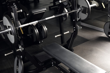 Bodybuilding. Bench press at gym nobody close-up