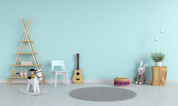 Blue chair and guitar in child room for mockup, 3D rendering