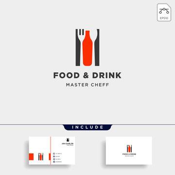 food and drink bottle simple flat logo design vector illustration