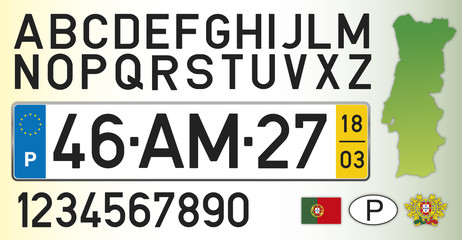 Portugal car license plate, letters, numbers and symbols