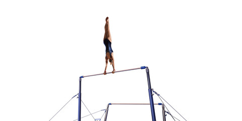 Fotobehang Gymnastiek Female athlete doing a complicated exciting trick on horizontal gymnastics bars on white background. Isolated Girl perform stunt in bright sports clothes