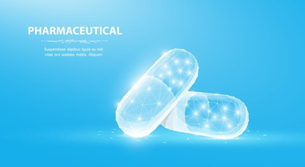 Pills. Abstract 3d polygonal wireframe two capsule pills on blue background with dots and stars.