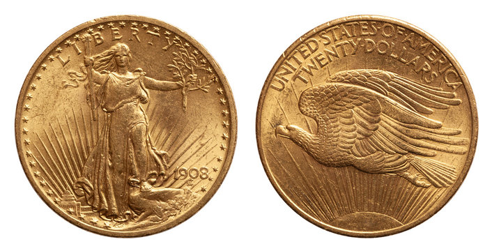 US Twenty 20 Dollars Gold Coin isolated of whtie background