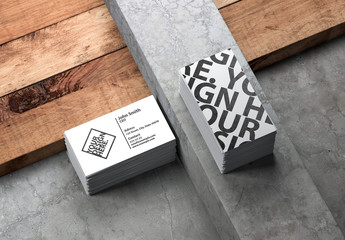 2 Stacks of Business Cards on Stone and Wood Background Mockup