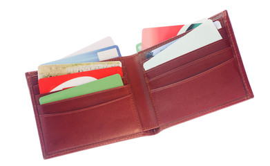 wallet full of credit cards for online shopping