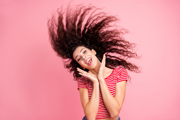 Portrait of her she nice-looking attractive lovely charming shine cheerful cheery crazy wavy-haired girl having fun time isolated over pink pastel background