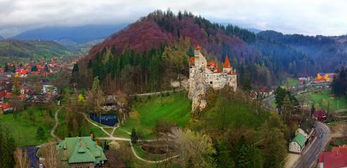 Bran castle or Dracula landmark in Transylvania, Romania. aerial view
