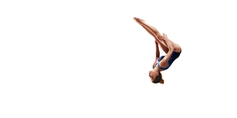 Female athlete doing a complicated exciting jump trick on white background. Isolated Girl perform stunt in bright sports clothes Wall mural