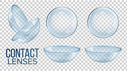 Medical Glass Contact Optical Lenses Set Vector. Realistic Style Medical Device Worn To Correct Vision, Cosmetic Or Therapeutic Help On Isolated Transparent Background. 3d Illustration