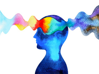 human head chakra power inspiration abstract thinking watercolor painting illustration design hand drawn