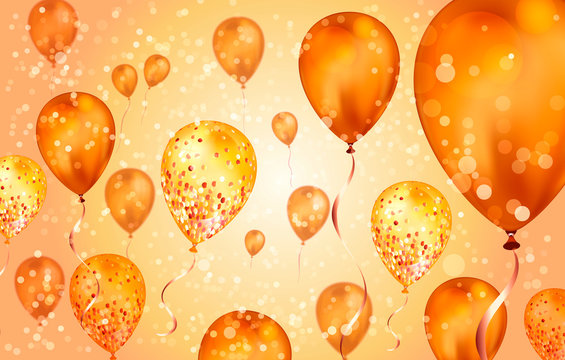 Elegant orange Flying helium Balloons with Bokeh Effect and glitter. Wedding, Birthday and Anniversary Background. Vector illustration for invitation card, party brochure, banner