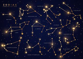 Zodiac constellations gold set