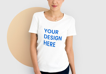 Woman Wearing a White T-shirt Mockup