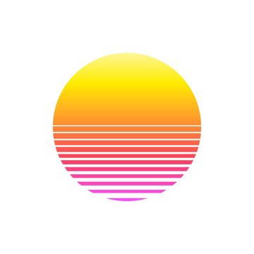 Retro sunset in 80`s style on white background. Retrowave, synthwave futuristic background. Template design for cyber or sci-fi abstract concept.
