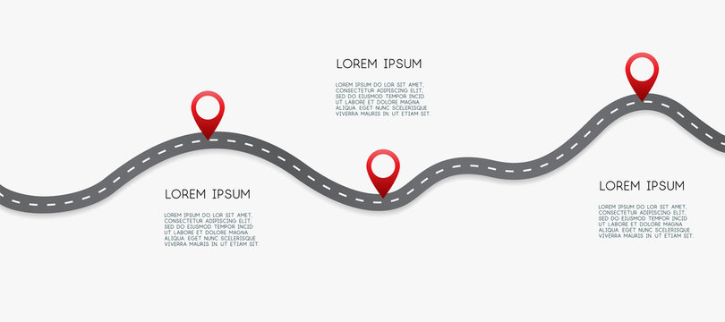 Infographic design template with place for your text. Asphalt road with three pin on it. Vector illustration.