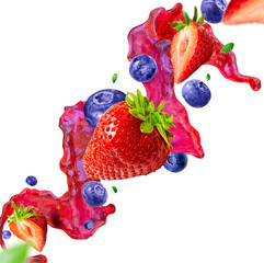Photo sur Toile Dans la glace Strawberry and blueberry juice splash with berries isolated on white background. Healthy food and balanced diet concept. Liquid template design element. Clipping path included. 3D illustration