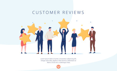 People holding stars. Customer reviews concept illustration concept illustration, perfect for web design, banner