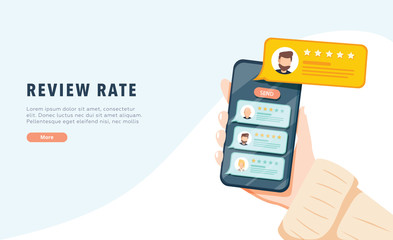 Vector of an online application on mobile phone to rate and review customer service, product or experience. App reviews