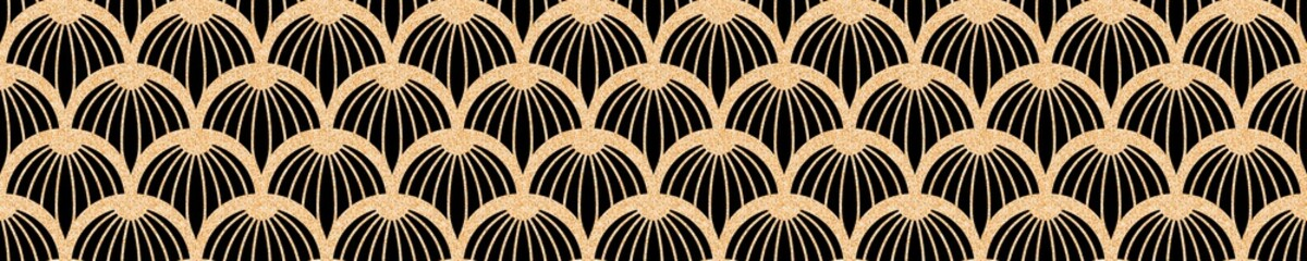Modern geometric tiles pattern. Golden lined shape. Abstract art deco seamless luxury background. Wall mural