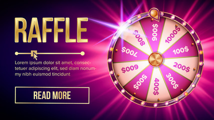 Internet Raffle Roulette Fortune Banner Vector. Shiny Raffle Casino Spinning Wheel For Game And Win Jackpot Online Lottery Marketing Concept. Realistic Style Colorful Stock Illustration