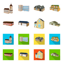 Vector design of facade and housing symbol. Collection of facade and infrastructure stock symbol for web.