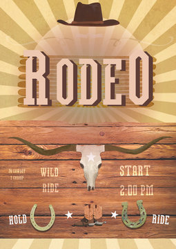 Rodeo or Wild West theme party. Banner, flayer western card