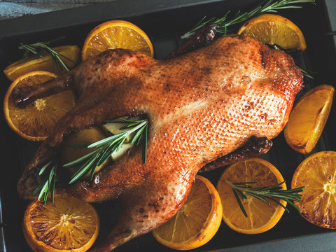 whole roast duck with oranges, stuffed with apples and rosemary on a baking tray