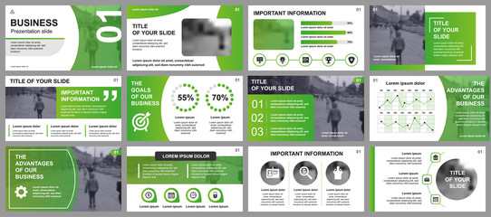 Business presentation slides templates from infographic elements. Can be used for presentation template, flyer and leaflet, brochure, corporate report, marketing, advertising, annual report, banner. Wall mural