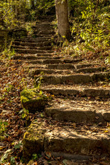 Stone Steps at the entrance to Glen Helen Nature Preserve in Yellow Springs, Ohio