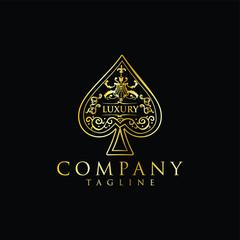 Fototapeta Gold Spade Logo Luxury Design Vintage Hipster Retro. The heart ace Spade logo gold stock vector