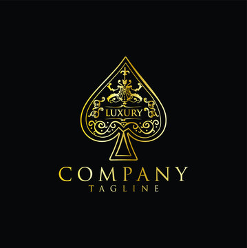 Gold Spade Logo Luxury Design Vintage Hipster Retro. The heart ace Spade logo gold stock vector