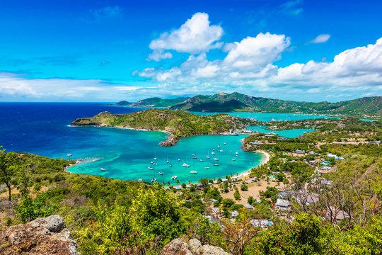 Antigua and Barbuda, Falmouth harbour bay landscape, Caribbean.