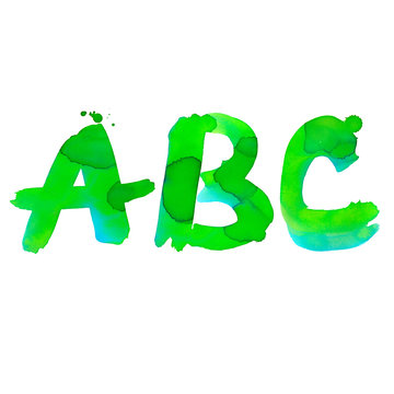 Watercolor letters ABC. Hand writing green and blue gradient symbols of English alphabet with splashes of color on white background