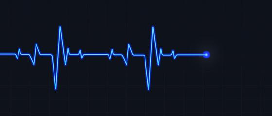 blue cardiogram on black background