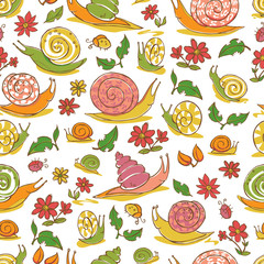 Vector white hand drawn snails and flowers repeat pattern. Suitable for gift wrap, textile and wallpaper.
