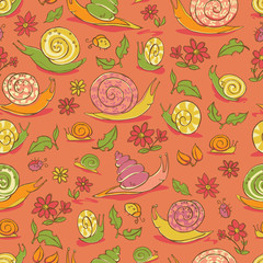Vector red hand drawn snails and flowers repeat pattern. Suitable for gift wrap, textile and wallpaper.
