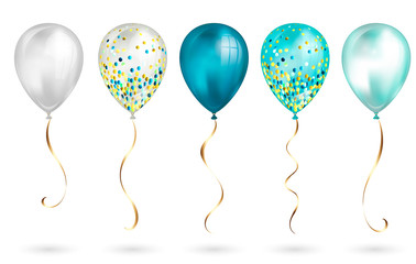Set of 5 shiny realistic 3D teal helium balloons for your design. Glossy balloons with glitter and gold ribbon, perfect decoration for birthday party brochures, invitation card or baby shower