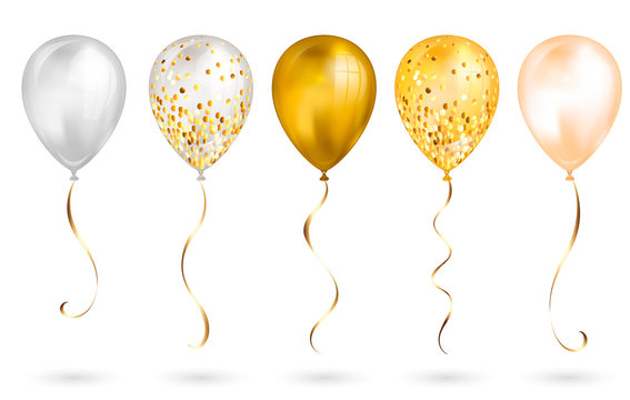 Set of 5 shiny gold realistic 3D helium balloons for your design. Glossy balloons with glitter and gold ribbon, perfect decoration for birthday party brochures, invitation card or baby shower
