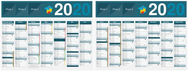 Calendrier 2020 Et 2021 Vacances Scolaires.Calendrier 2020 14 Mois Avec Vacances Scolaires Officielles